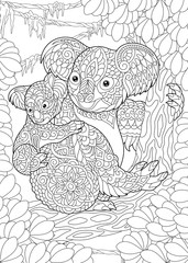 Coloring Page. Coloring Book. Colouring picture with Koala Bears.