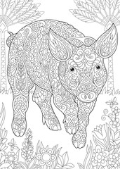 Coloring Page. Coloring Book. Colouring picture with Pig. Cute Piggy - 2019 Chinese New Year symbol.
