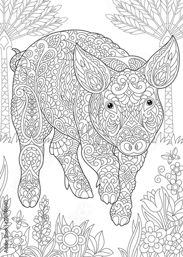 "Year of the pig 2019 coloring pages ~ ""Coloring Page. Coloring Book. Colouring picture with Pig ..."