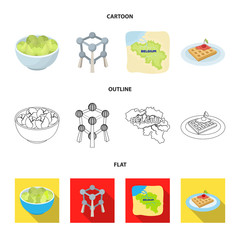 Territory on the map, brussels sprouts and other symbols of the country.Belgium set collection icons in cartoon,outline,flat style vector symbol stock illustration web.