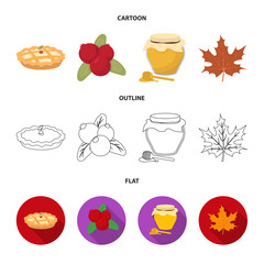 Cranberry, pumpkin pie, honey pot, maple leaf.Canada thanksgiving day set collection icons in cartoon,outline,flat style vector symbol stock illustration web.