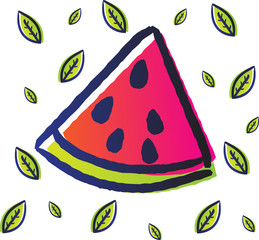 funy watermelon fruit with doodle sketch style use gradient color and leaf pattern as a background