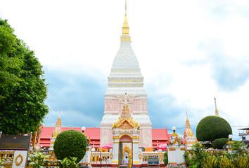 """Wat Phrathat Renu Nakhon"" Temple,  Thai Traditional Pink Temple in Renu Nakhon District, Nakhon Phanom, Thailand"
