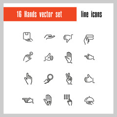 Hands icons. Set of  line icons. Thumbs up, gift, direction sign. Gesture concept. Vector illustration can be used for topics like networking, communication, signs and symbols