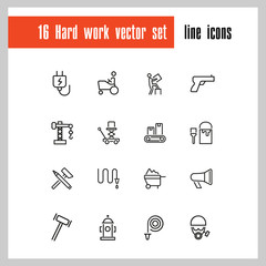 Hard work icons. Set of  line icons. Courier, criminal, policeman. Occupation symbols concept. Vector illustration can be used for topics like business, service