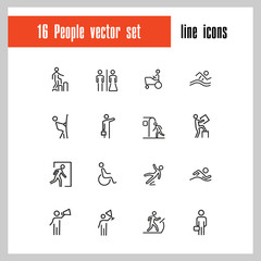 People icons. Set of line icons. Swimming, metro station, exit. Public pictograms concept. Vector illustration can be used for topics like attention signs, public services