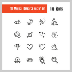 Medical research icons. Set of  line icons. Urgent help, heart decease, virus. Medical research concept. Vector illustration can be used for topics like decease prevention, medication, health care.