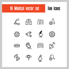 Medical test icons. Set of line icons. Insurance, bacteria, laboratory. Medical research concept. Vector illustration can be used for topics like healthcare, medicine, microbiology
