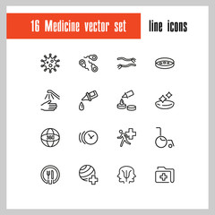 Medicine icons. Set of  line icons. Sport doctor, wheelchair, emergency. Medical and health care concept. Vector illustration can be used for topics like hospital, hygiene, urgent help.