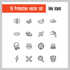 Protection icons. Set of  line icons. Contact lens, respirator, radiation hazard. Caution concept. Vector illustration can be used for topics like ophthalmology, danger, epidemic.