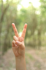 Two fingers with blur background body language sign V sign.
