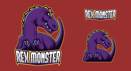 full branding purple dinosaur mascot esport logo vector illustration
