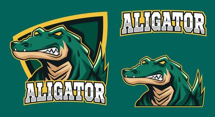 scary green alligator mascot esport logo design vector illustration