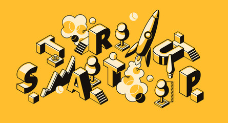 Startup business vector illustration of rocket or project launch. Start up letters and creative idea development in isometric black thin line design on yellow halftone background