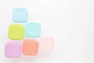 Plastic box pastel on white background