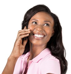 Young cute african woman using phone isolated on white