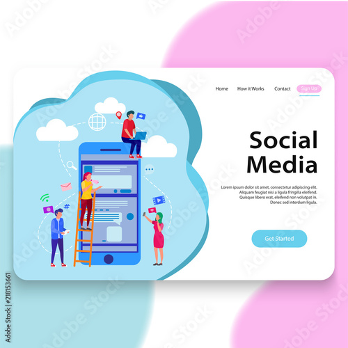 social media illustration landing page template stock image and