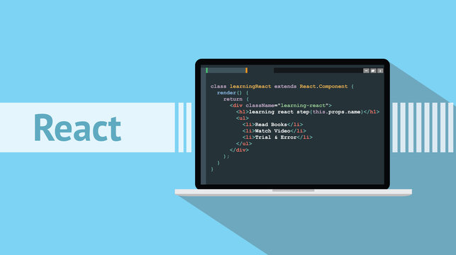 react native programming language with laptop and code script on screen