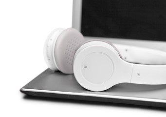 Closeup of Headphones on a Laptop
