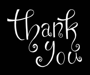Thank you - hand lettering inscription text, ink calligraphy raster version illustration