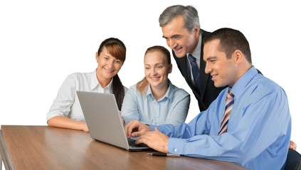 Portrait of Businesspeople Working with Laptop