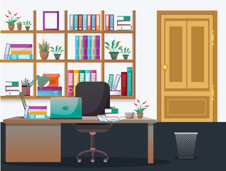 Illustration Modern Office Interior Workplace