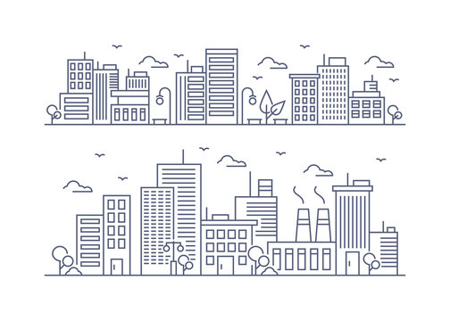 Vector Illustration : Thin line City landscape
