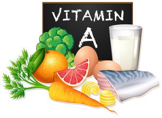 A set of vitamin A food