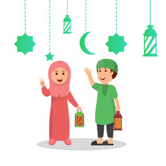 Aluminium Prints Vector Illustration of Kids Ramadan greeting card holding lantern with crescent moon, stars and mosque as background. Vector illustration.