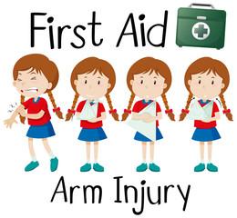 First aid arm injury