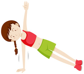 Girl doing a side plank