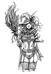 Attractive witch in a revealing costume