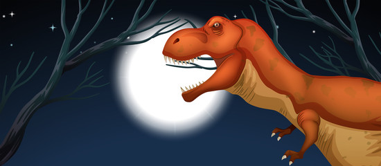 Tyrannosaurus in full moon night