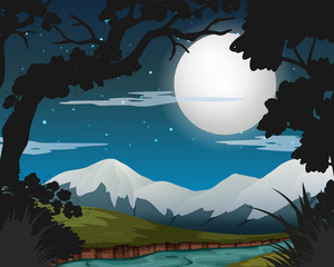 Full moon night in forest