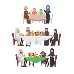 Set of Muslim Family Enjoying Iftar, Tradition Blessing Ramadhan Kareem, Dinner Together in Evening During Ramadhan.jpg