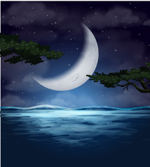 A crescent moon reflection on water
