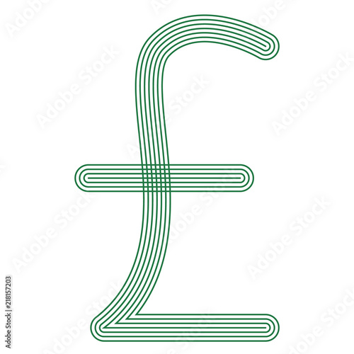 Egypt Pound Symbol Currency Unit Icon Striped Vector Illustration
