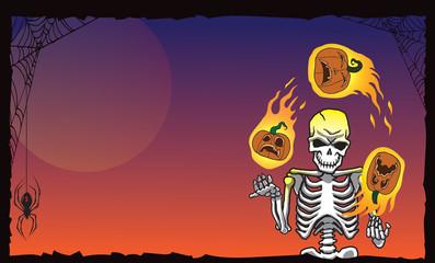 Halloween skeleton juggling pumpkins wide orange