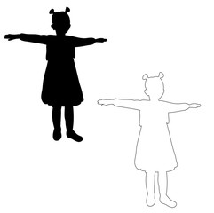 vector, isolated silhouette little girl, play