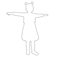 isolated, outline little girl