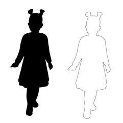 silhouette little girl and outline on white background