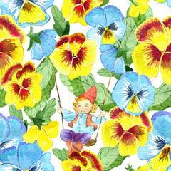 Seamless pattern with little gnome on swings and pansy flowers on white. Watercolor illustration with summer season background, botanical drawings for print, fabric, textile