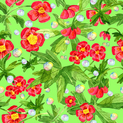 Seamless pattern with red anemone flowers, green leaves and soap bubbles. Watercolor illustration with summer season background, botanical drawings for print, fabric, textile