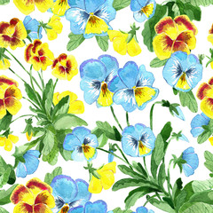 Seamless pattern with yellow and blue garden pansy flowers and leaves on white. Watercolor illustration with summer season background, botanical drawings for print, fabric, textile
