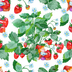Seamless pattern with little gnome eating strawberry and straberry plant on white. Watercolor illustration with summer season background, botanical drawings for print, fabric, textile