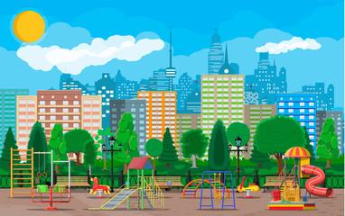 Kids playground kindergarten panorama. Urban child amusement. Slide ladder, rocking toy on spring, slide tube, swing carousel balancer, sandbox. City park. Cityscape. Vector illustration flat style