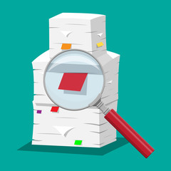 Pile of papers. Office documents heap and magnifying glass. Routine, bureaucracy, paperwork, big data, repository, archive, search, office. Vector illustration in flat style