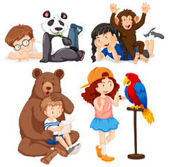 Set of children and animals
