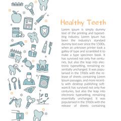 Template with text HEALTY TEETH and blue outline icons in left side