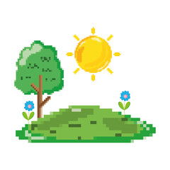 pixelated sun and trees with tropical flowers